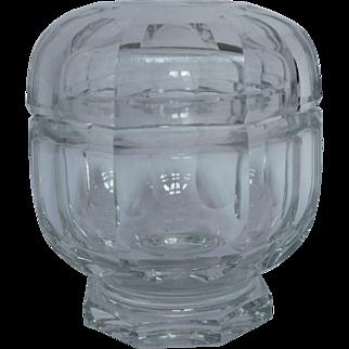 Baccarat crystal powder box, Malmaison pattern, signed