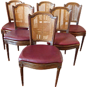 Set of 6 Louis XVI dining room caned chairs, 18th century
