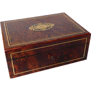 Burr wood jewelry casket or box, Napoleon III period circa 1860