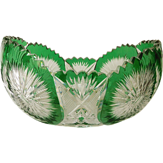 French antique Baccarat crystal jardinere / cup, green overlay cut crystal