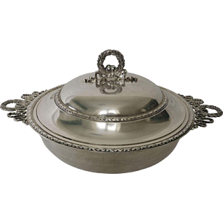 Antique French sterling silver vegetable dish, Louis XVI style