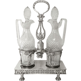 Antique French sterling silver oil & vinegar set, early 19th century