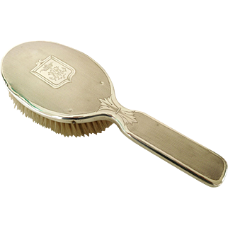Antique French sterling silver hair brush - Marquis crown - Minerva 1rst standard .950