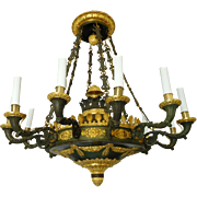 Large Empire Chandelier Patinated And Ormolu Bronze - 12 Lights - France Circa 1810