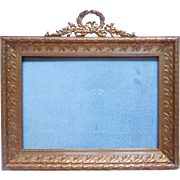 Antique French gilt bronze / brass - photo or miniature frame , Louis XVI style