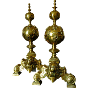 Antique French air of bronze andirons, Louis XIII style