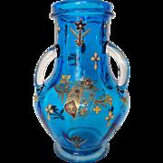 Legras France : tall enamelled & gilt turquoise blue glass vase circa 1890