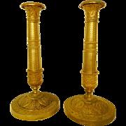 Pair Of Empire Ormolu Candlesticks, France Early 19th Century