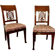 Pair of mahogany chairs - Directoire period - late 18th century attributed to Jacob