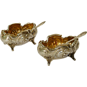 Antique French sterling silver & vermeil salt cellars, Louis XV style
