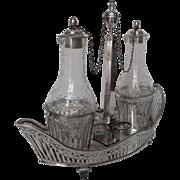 Antique French sterling silver oil & vinegar set, 18th century - Louis XVI period