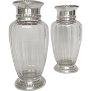 Pair of Baccarat crystal vase, Malmaison pattern, sterling silver structure