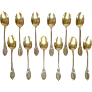 Henin & Cie : 12 sterling silver and vermeil coffee spoons, Louis XVI style