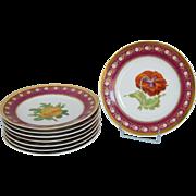 Empire porcelain dessert service, Paris, floral & gilt decoration