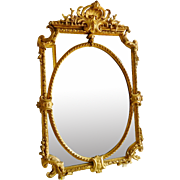 Napoleon III parecloses mirror, central oval medallion, Louis XIV style