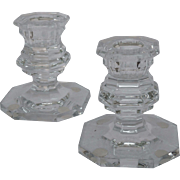 Pair of Baccarat crystal candleholders, Harcourt pattern