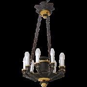Large Empire chandelier, ormolu & patinated bronze - 9 lights - France circa 1820-1830