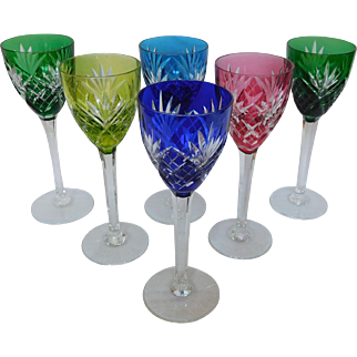 St Louis crystal hock glasses, set for 6, Chantilly pattern