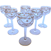 6 St Louis crystal liquor glasses enhanced with fine gold