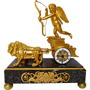 Antique French Empire style clock : Chariot of Love, ormolu & marble, 19th century
