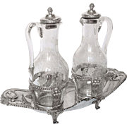 Antique French sterling silver oil & vinegar set, 18th century - Louis XVI period
