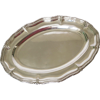 Odiot : antique French sterling silver dish, transition style 1276g