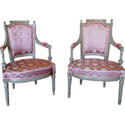 Pair of armchairs, end of Louis XVI period / French Directoire (late 18th century)