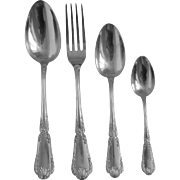 Puiforcat : antique French sterling silver flatware for 20, Pompadour pattern