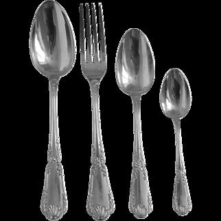 Puiforcat : antique French sterling silver flatware for 20, Pompadour pattern