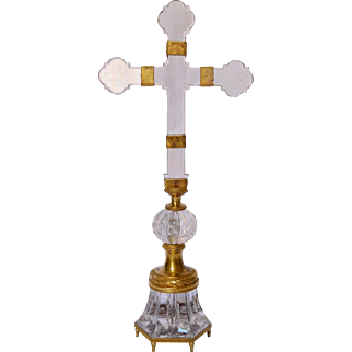 Rock crystal and ormolu cross, late 18th - early 19th century