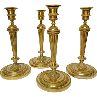 Rare set of 4 Louis XVI ormolu candlesticks - France 18th century