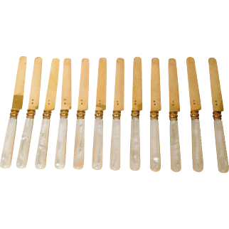 12 antique French mother of pearl & vermeil knives