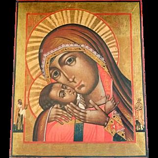 Vintage Greek Madonna & Child Icon