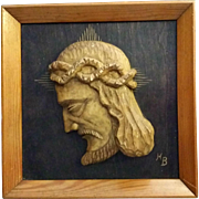Vintage Framed Wooden Profile of Christ with Crown of Thorns