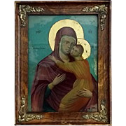 Antique Framed Madonna & Child Icon from Greece