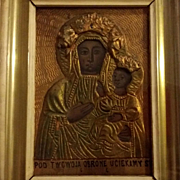 Antique Black Madonna Icon from Poland