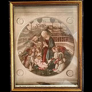 Antique Framed Madonna & Child Print