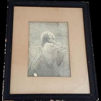 Framed Antique Engraving of Christ in the Garden of Gethsemane