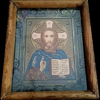 Antique Framed Icon of Christ