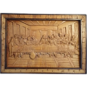 Large Hand-Carved Wood Last Supper