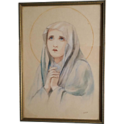 1937 Watercolor Madonna, Signed Original Art
