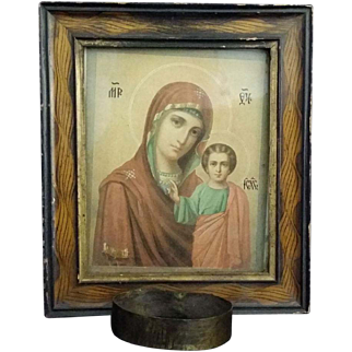 Greek Madonna & Child Icon with Candle Holder