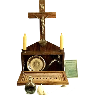 Home Last Rites Set with Crucifix and Holy Water Font