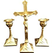 Golden Art Nouveau Altar Set