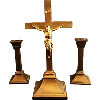 Brass Crucifix and Candle Holder Set