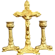 Gilded Crucifix with Matching Candle Holders - Red Tag Sale Item