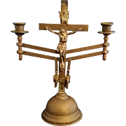 Antique Brass Crucifix Candelabra, Dominion of Canada Patent