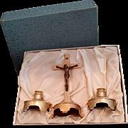 Brass Altar Set in Original Satin Lined Box