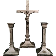 Vintage Crucifix with Matching Candleholders