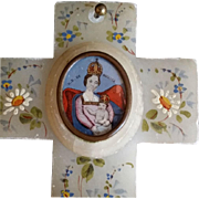 Antique Hand-painted Marble Cross - Red Tag Sale Item
